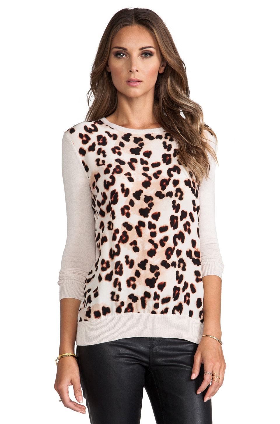 Central Park West Silk Animal Print Sweater in Cheetah