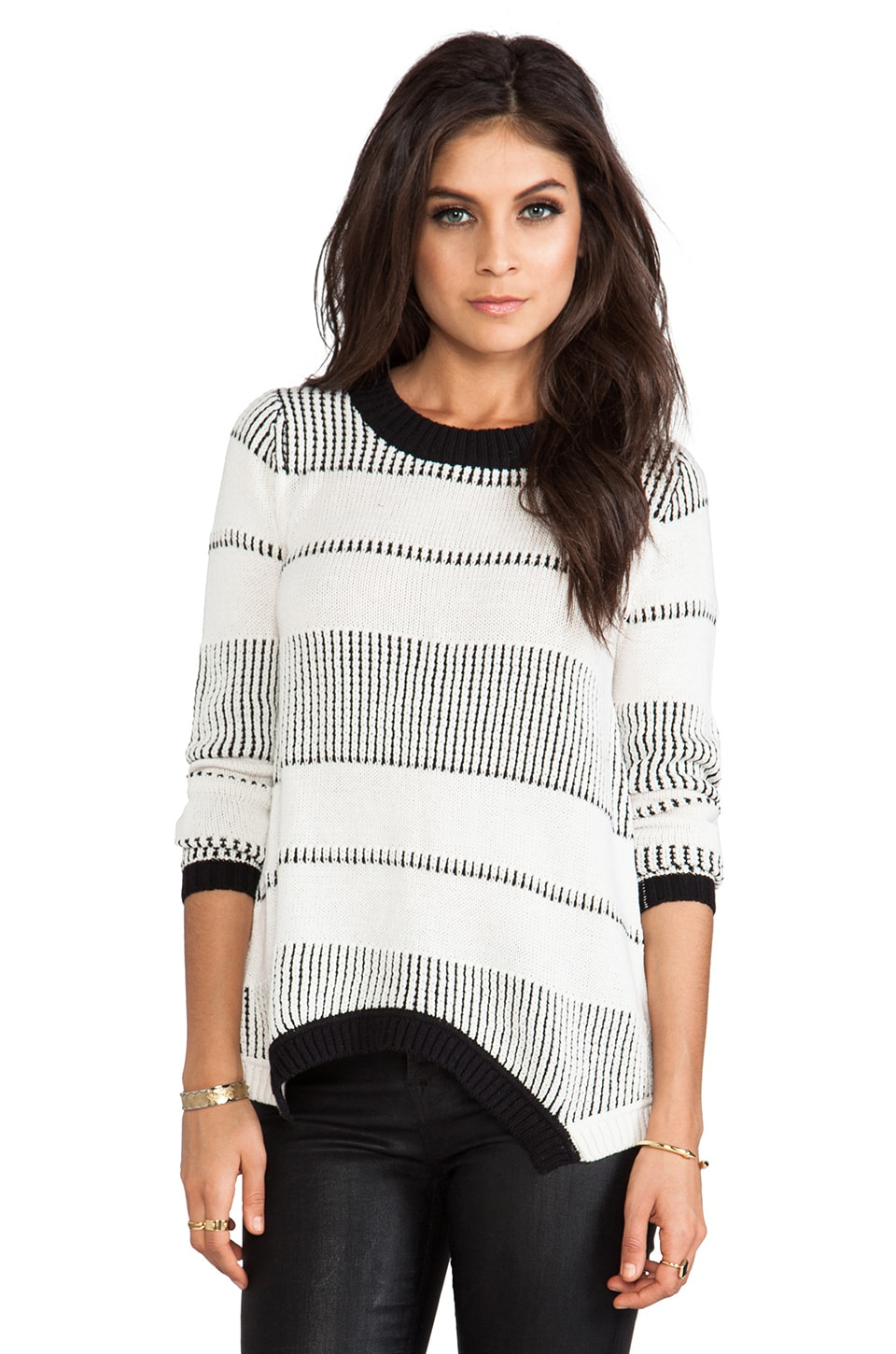 Central Park West Crete Asymmetric Hem Sweater in White