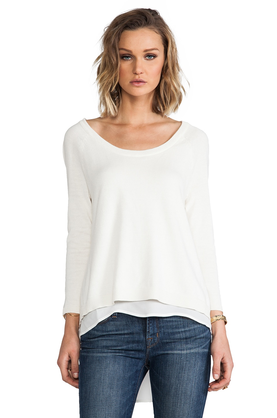 Central Park West Chile Sheer Back Sweater in Ivory