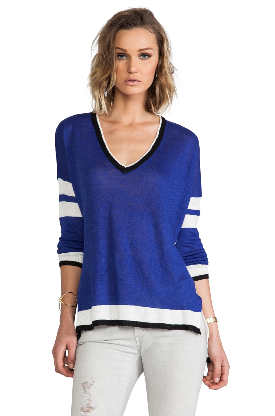 Central Park West Zanzibar Color Block Sweater in Royal Navy Multi
