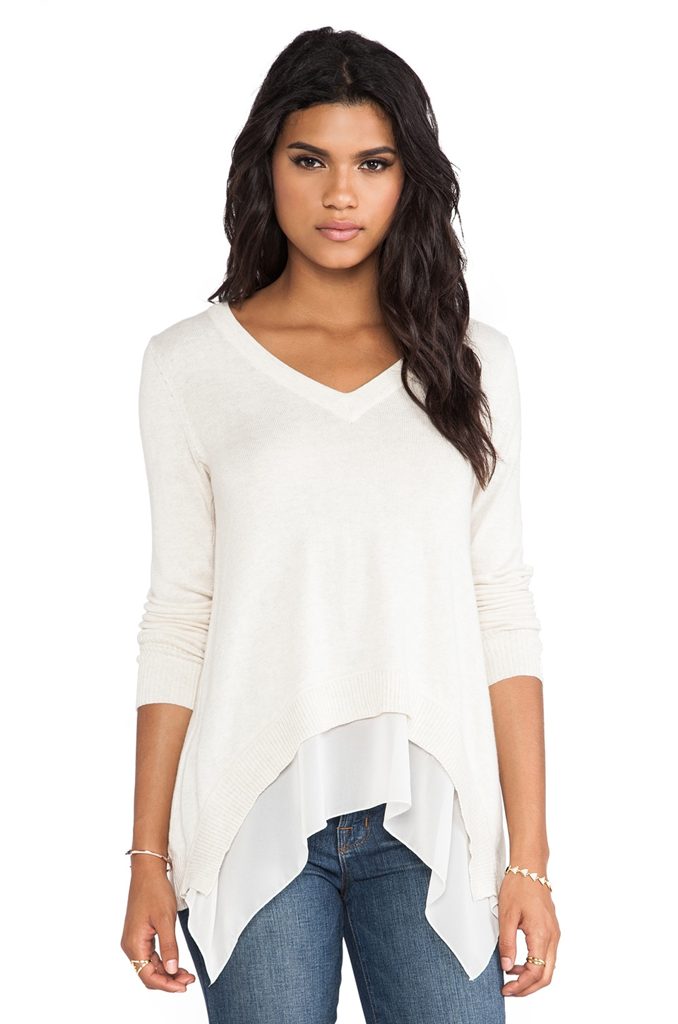 Central Park West Rye V Neck Sweater in Bone
