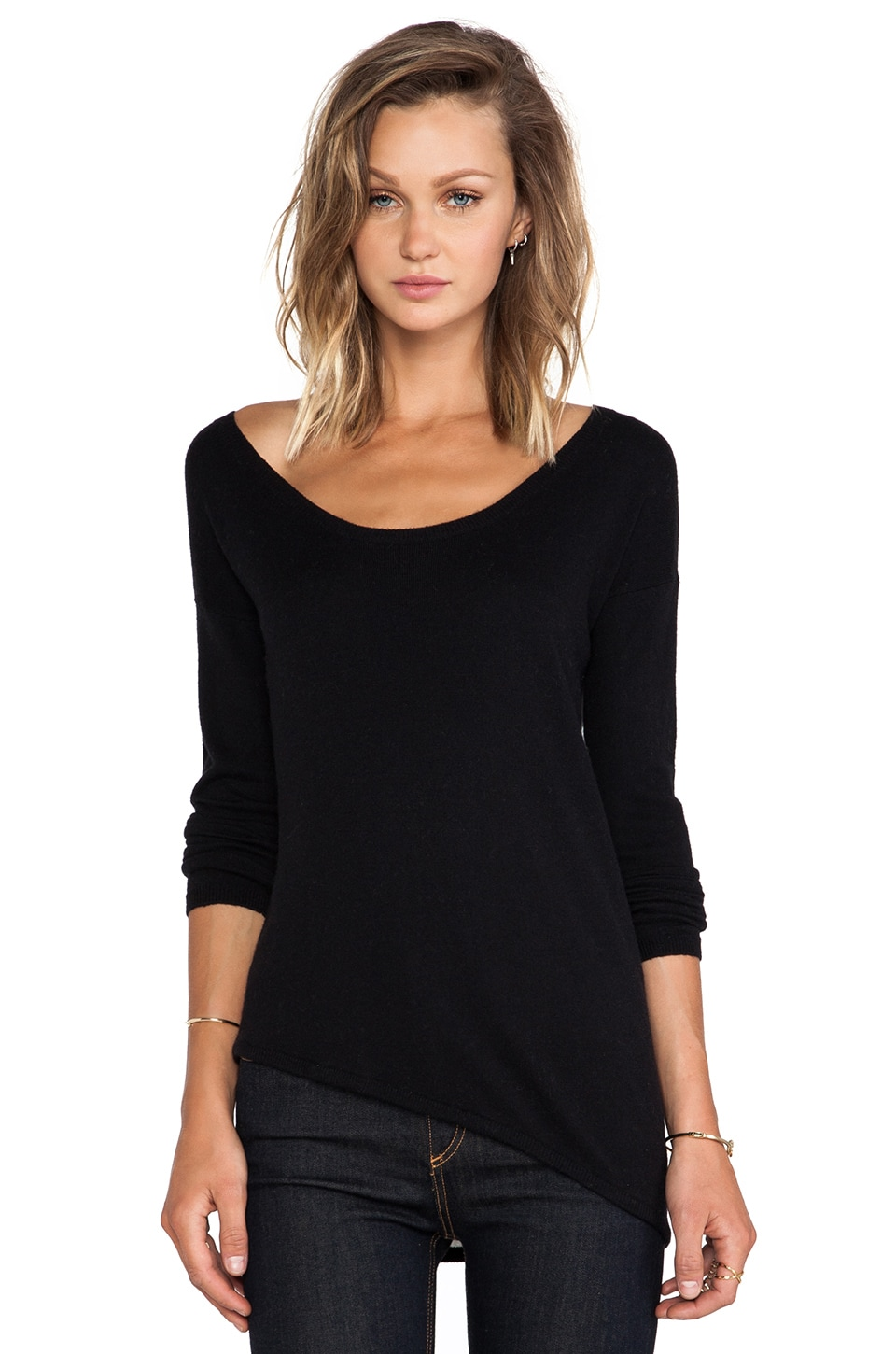 Central Park West Syracuse Asymmetric Hem Sweater in Black