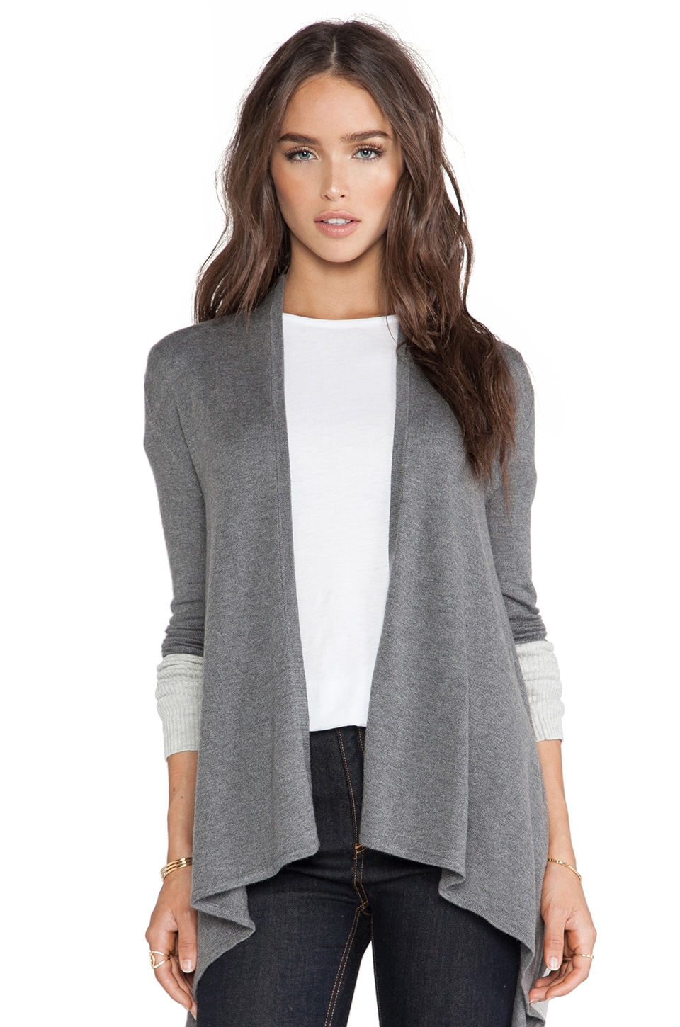 Central Park West Syracuse Colorblock Cardigan in Grey