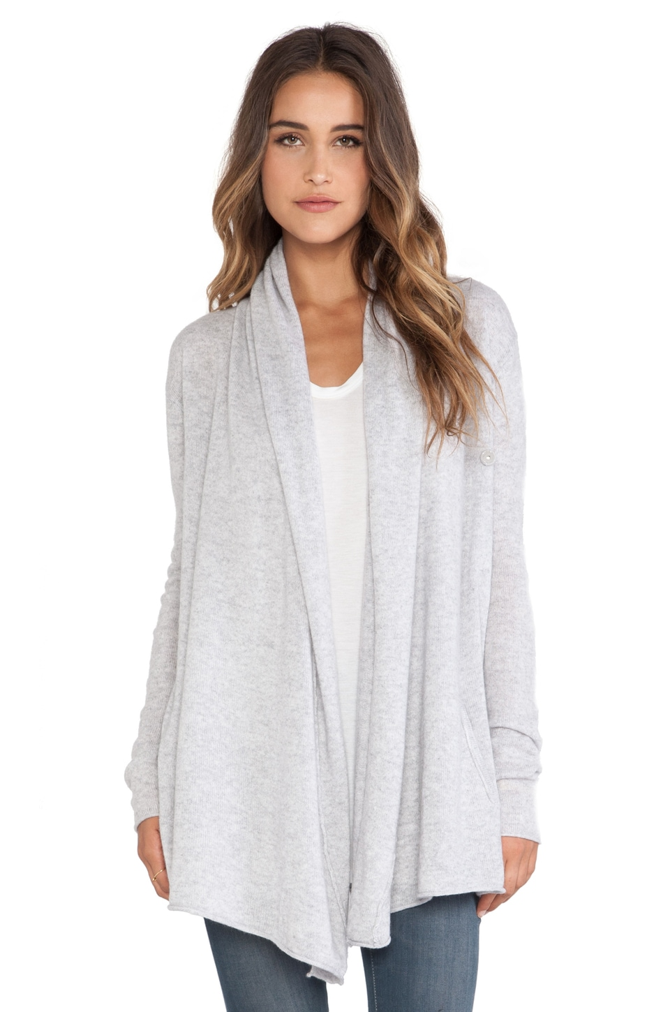 Central Park West LuxeCashmere Drape Cardigan in Heather Grey