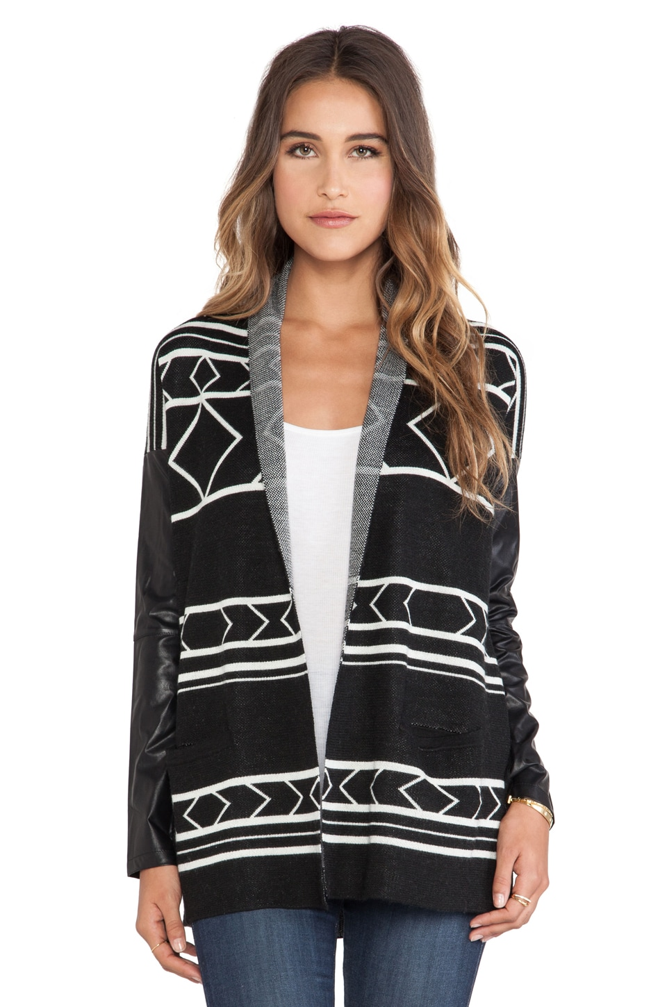 Central Park West Buffalo Tribal Cardigan in Black Tribal
