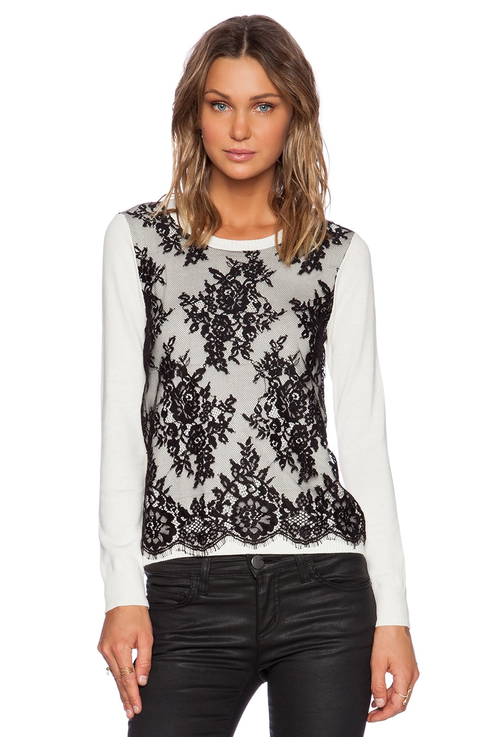 Central Park West Vinegar Hill Lace Overlay Sweater in Ivory | REVOLVE
