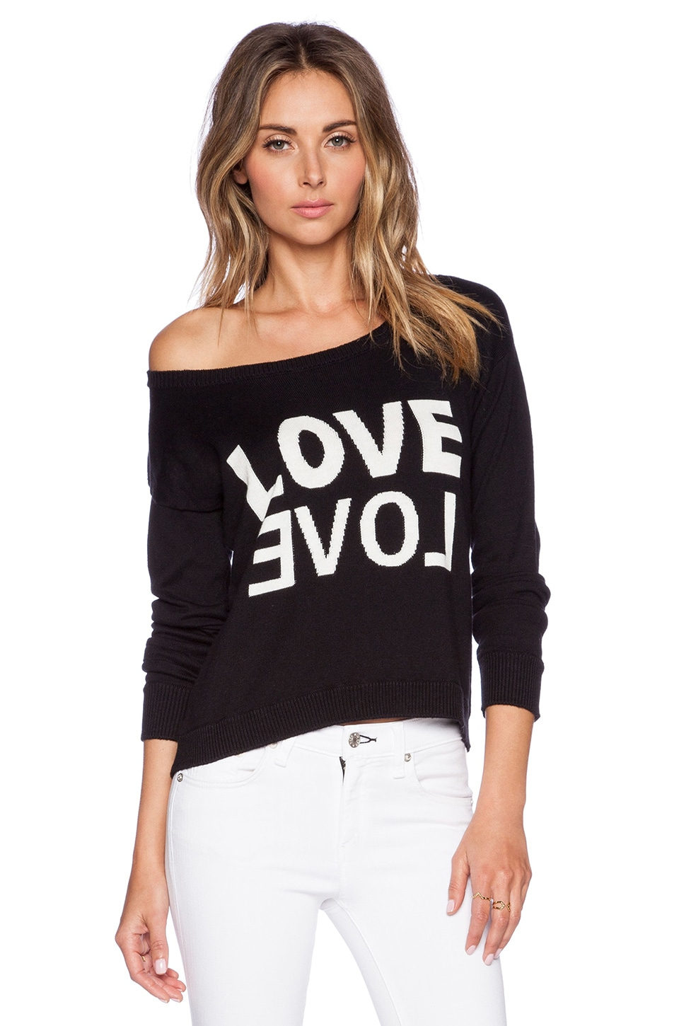 Central Park West San Antonio LOVE Cropped Sweater in Black