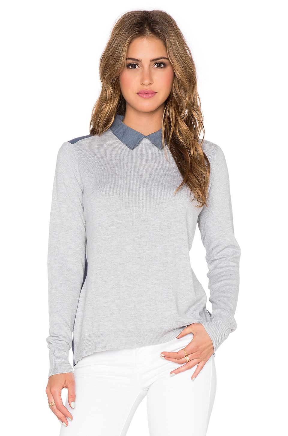 Central Park West Cologne Collard Sweater in Heather Grey & Chambray