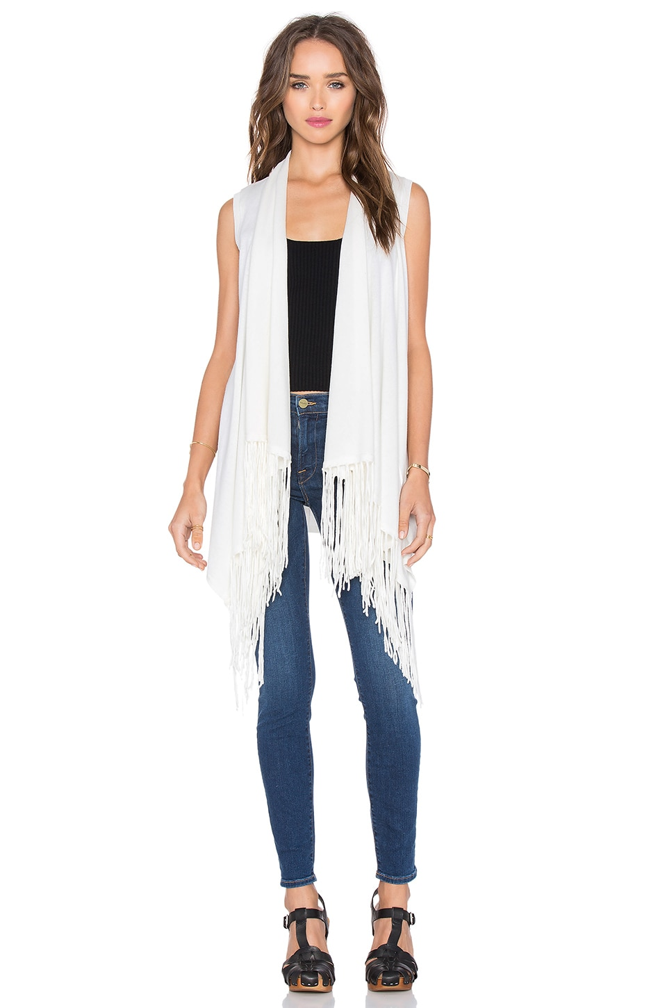 Central Park West Auckland Sleeveless Fringe Vest in White