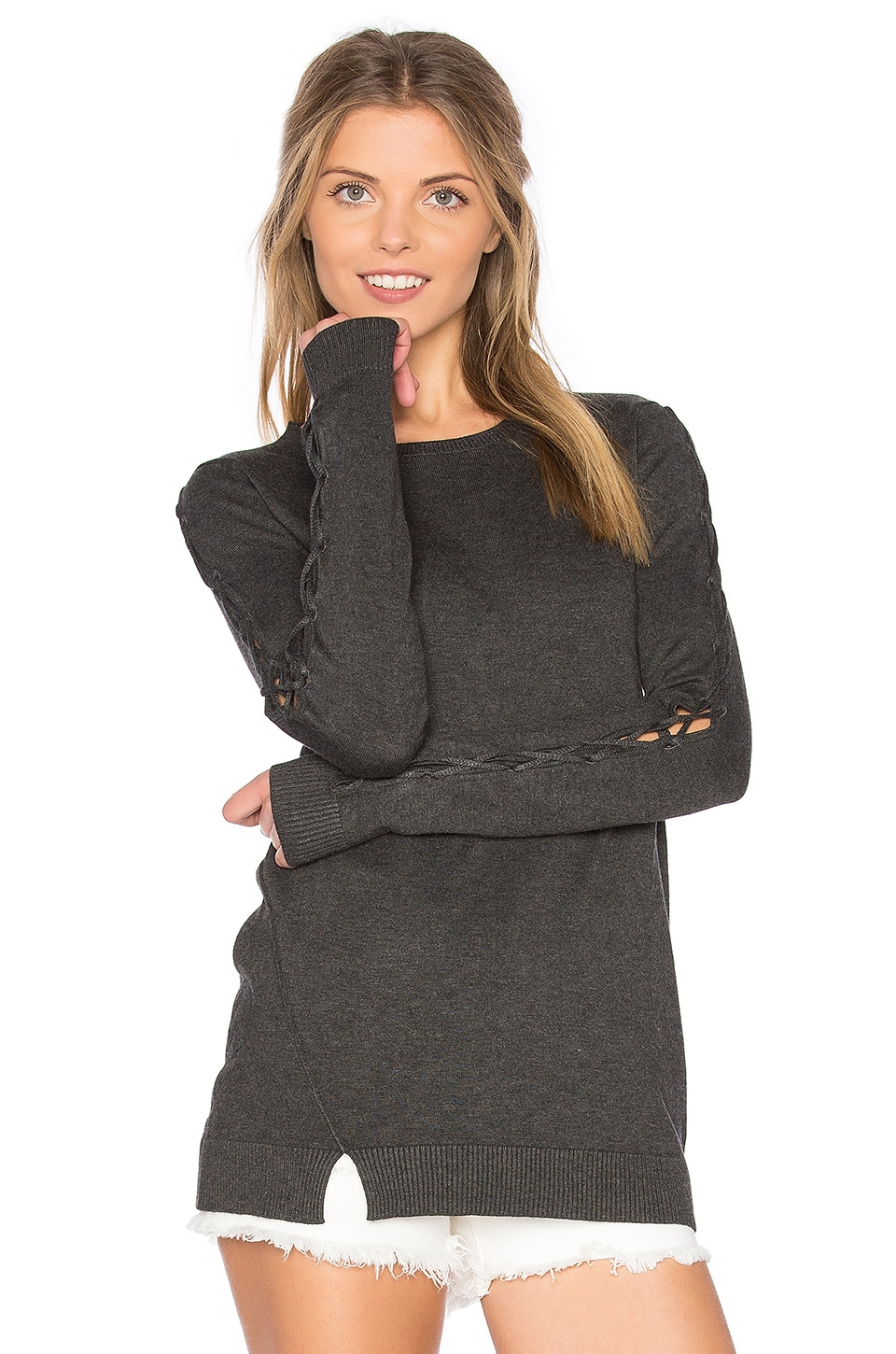 Central Park West Cambridge Lace Up Bell Sleeve Sweater in Charcoal