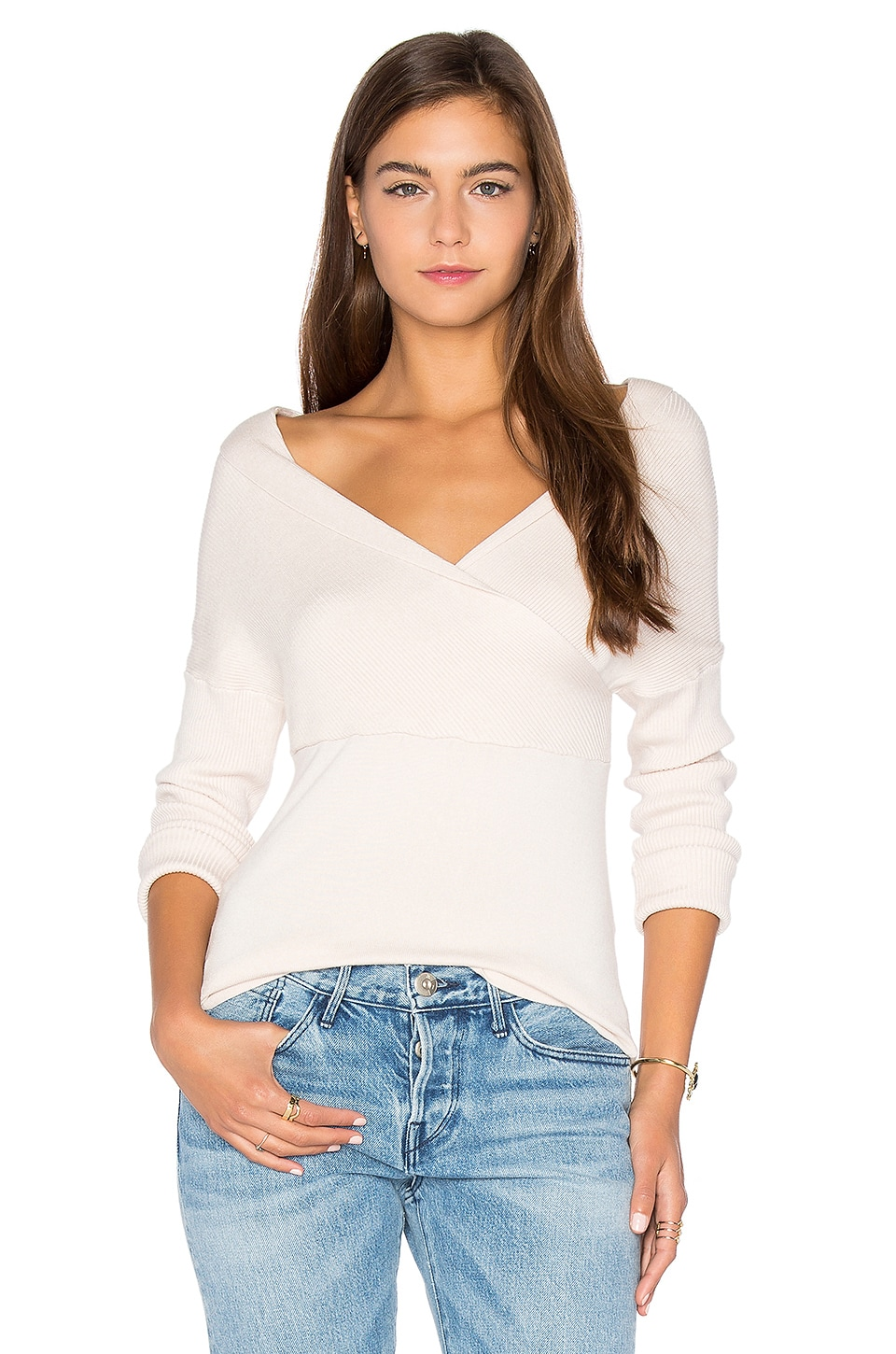 Central Park West Brighton Off Shoulder Sweater in Blush