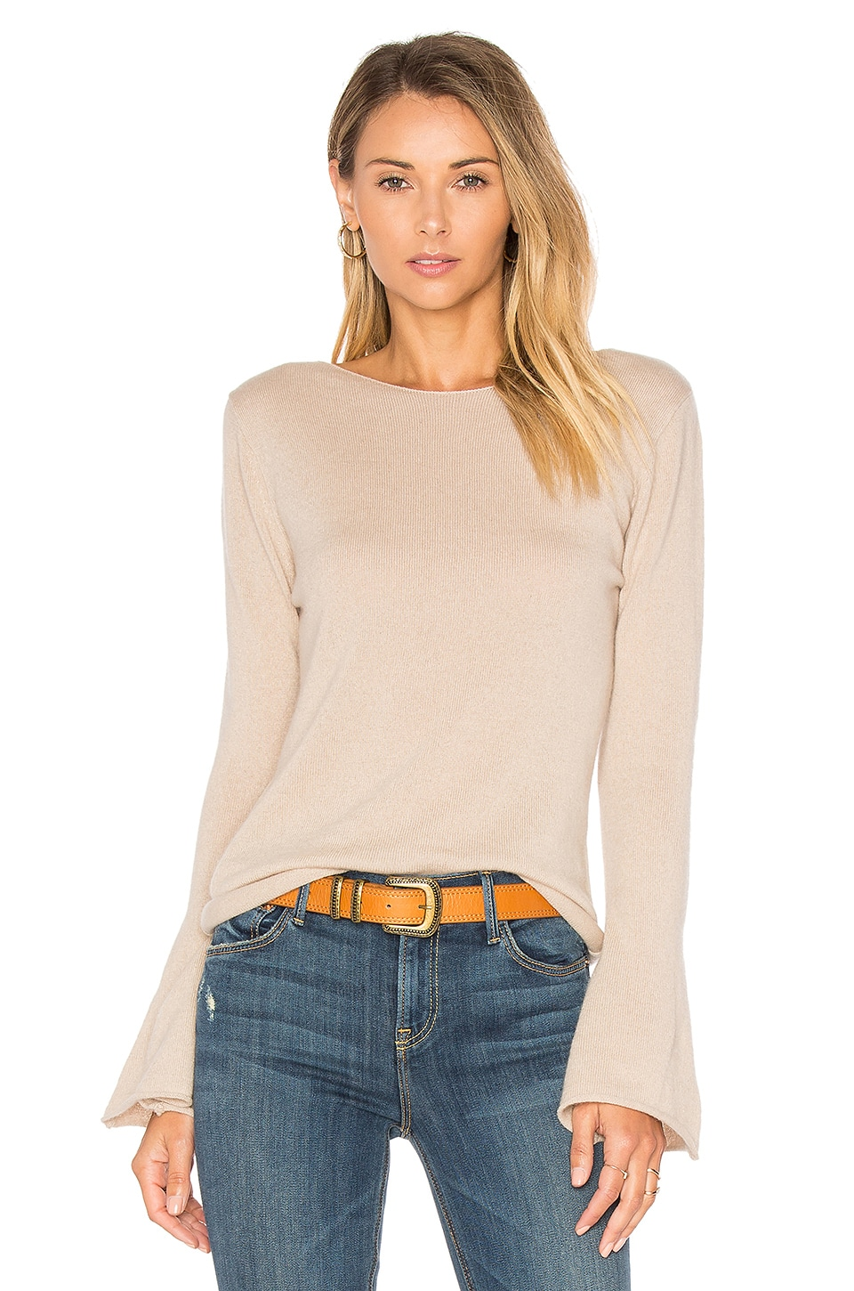 Central Park West Vienna Cashmere Bell Sleeve Sweater in Jute