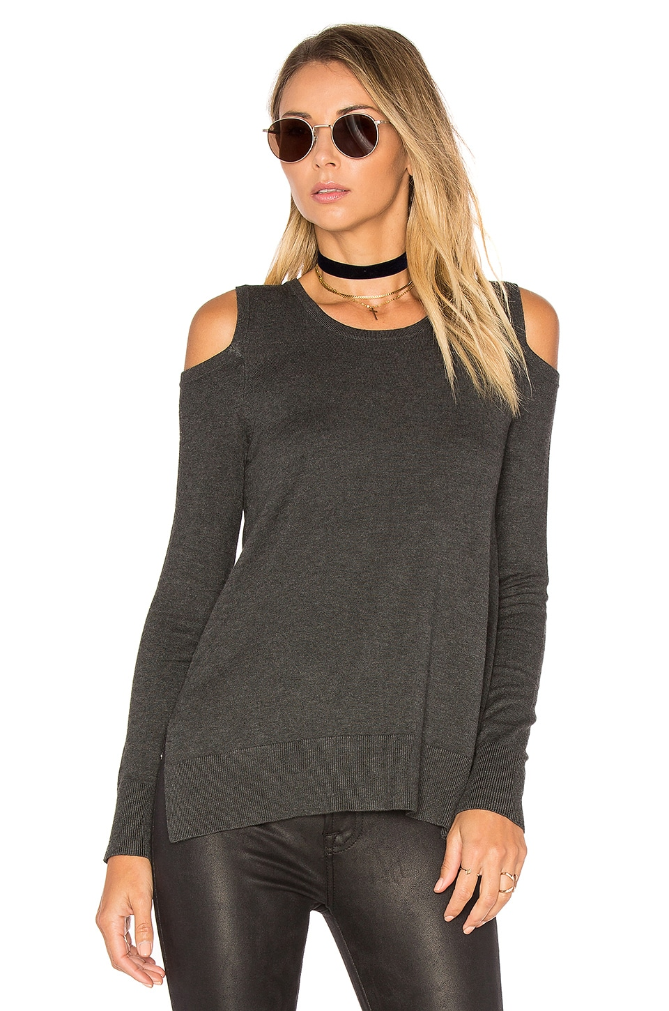 Central Park West Brighton Cold Shoulder Sweater in Charcoal