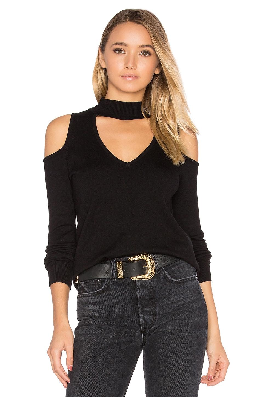 Central Park West Baton Rouge Cold Shoulder Turtleneck Sweater in Black
