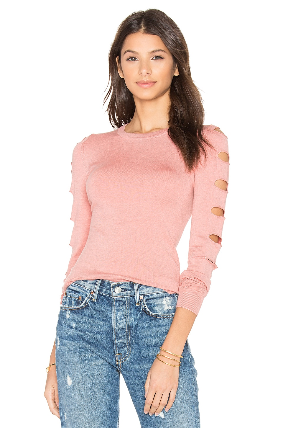 Central Park West Palm Springs Cut Out Sweater in Salmon
