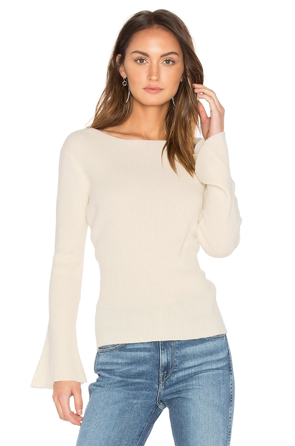 Central Park West Salzburg Pullover Cashmere Sweater in Winter White