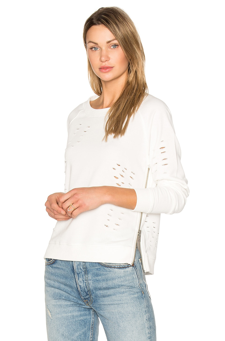 Central Park West Savannah Distressed Sweater in White