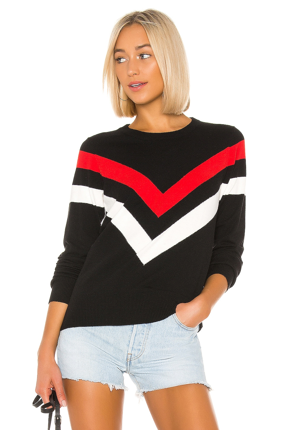 Central Park West Carson Crew Neck in Black Combo