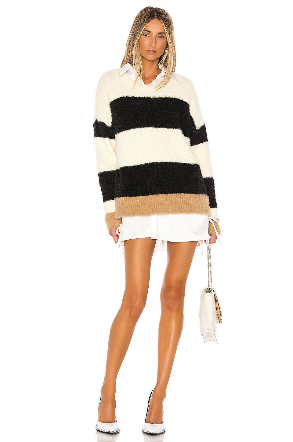 Central Park West Darby Pullover in Ivory & Black