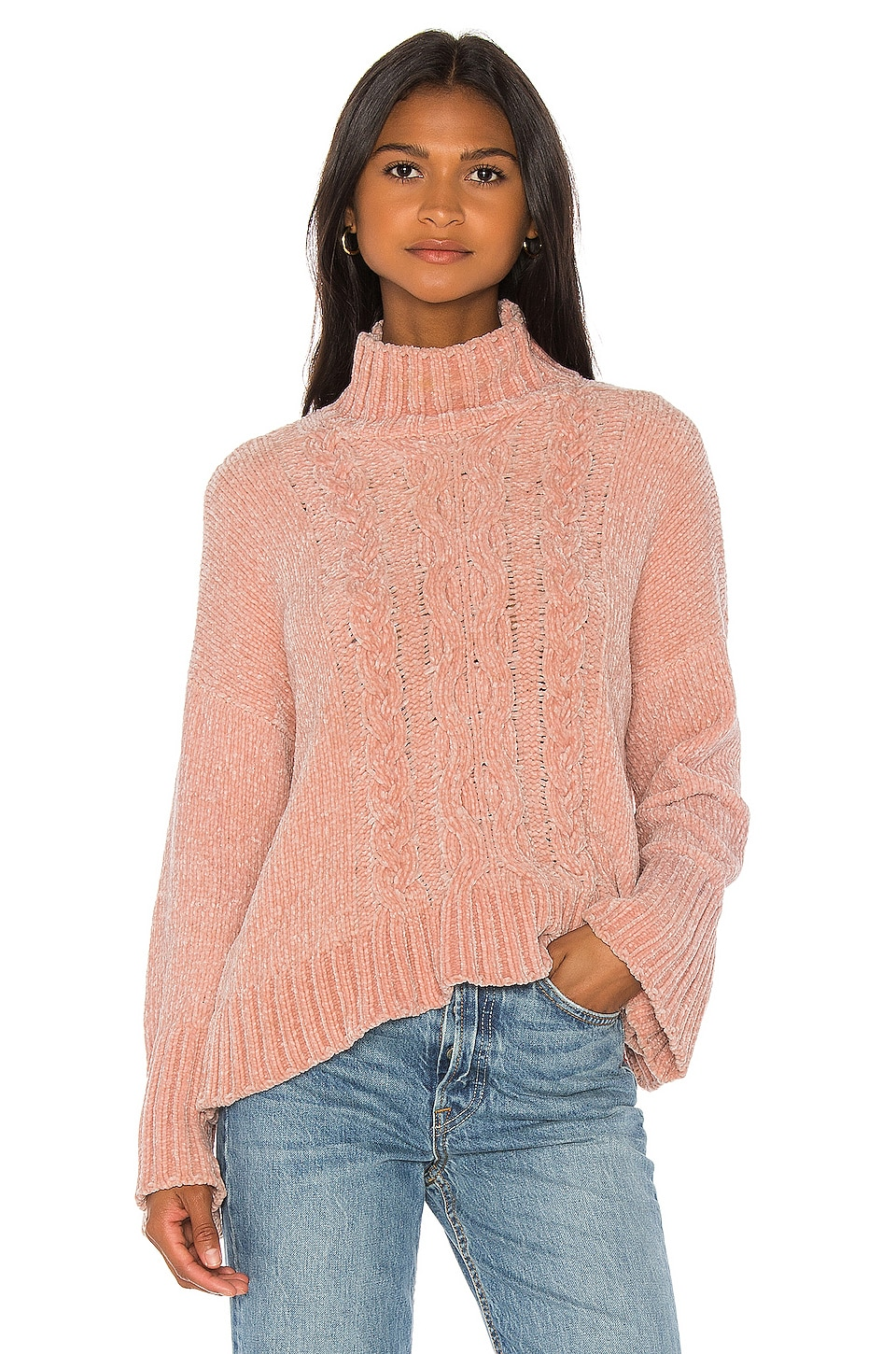 Central Park West Sasha Cable Sweater in Blush
