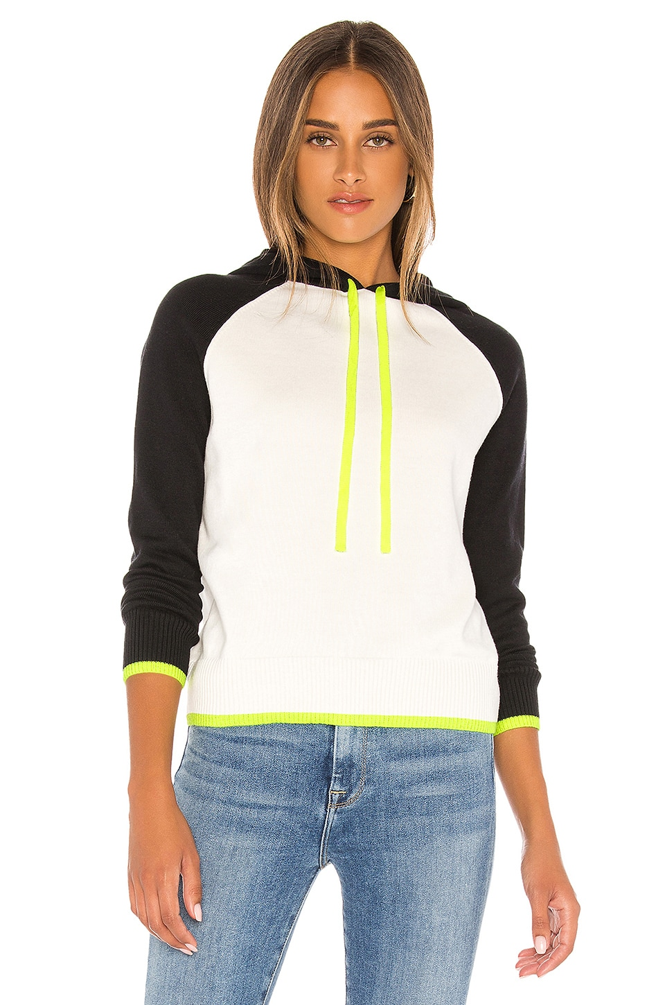 Central Park West Kyoto Hoodie in Ivory & Neon Yellow