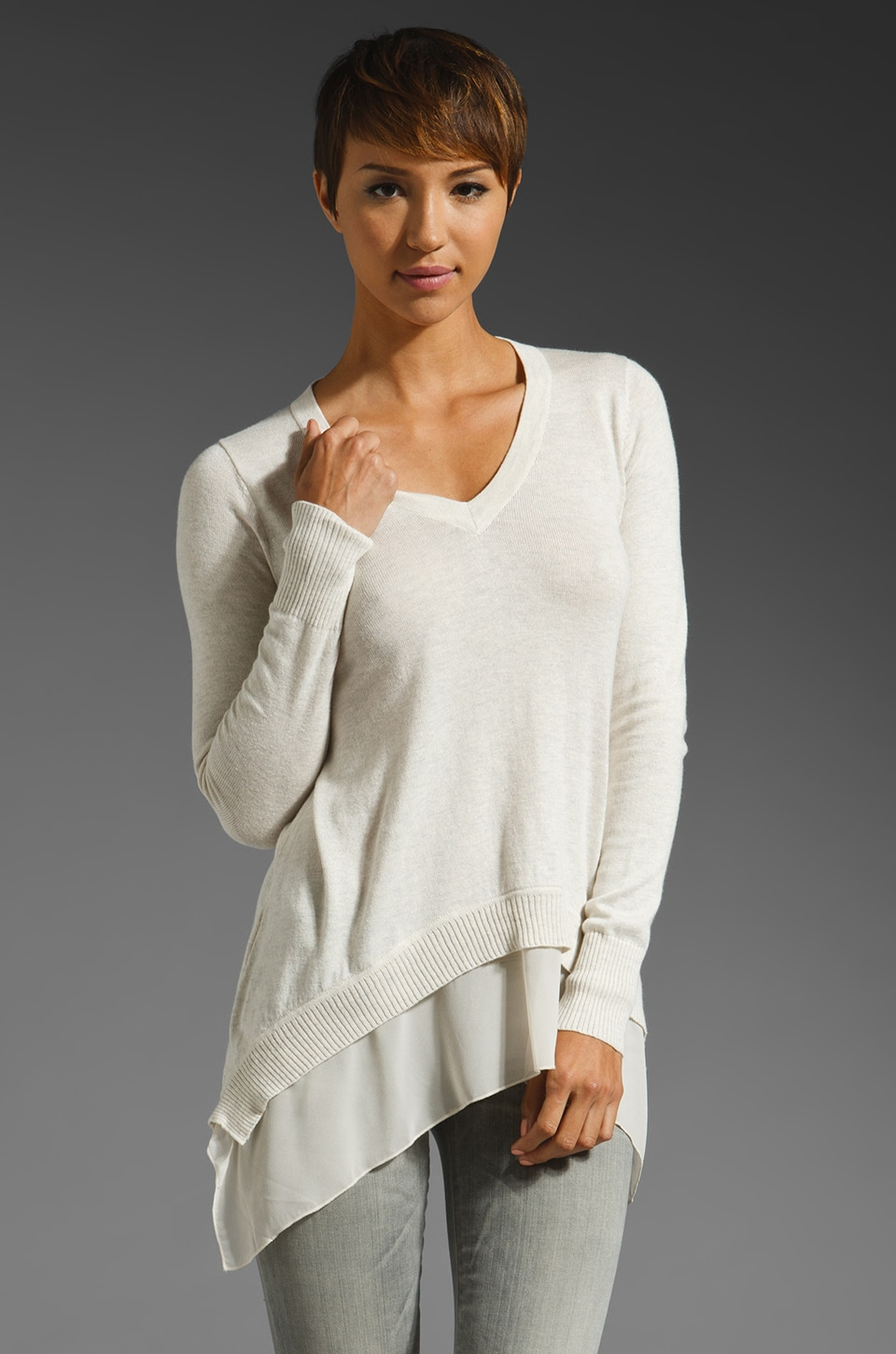 Central Park West Bryant Park V Neck Sweater in Bone