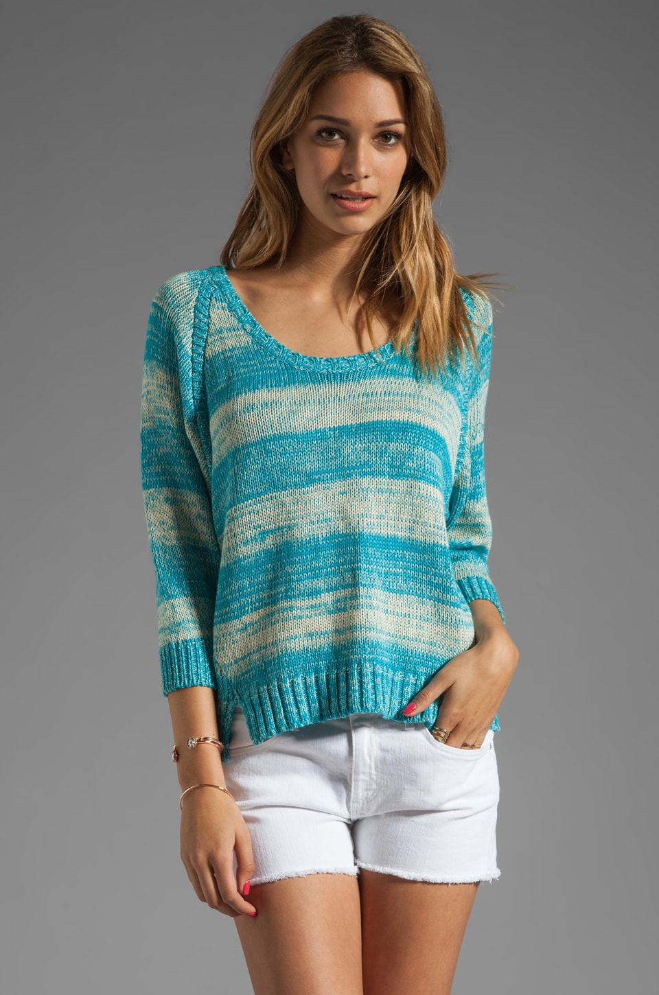 Central Park West Chesapeake Dolman Sweater in Aquamarine