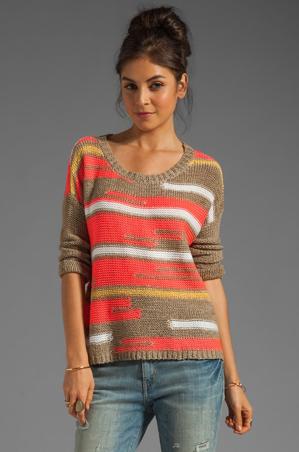 Central Park West Bal Harbour Mix Yarn Stripe Pullover in Coral