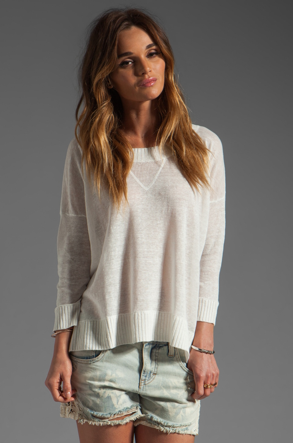 Central Park West Texarkana Linen Varsity Pullover in White