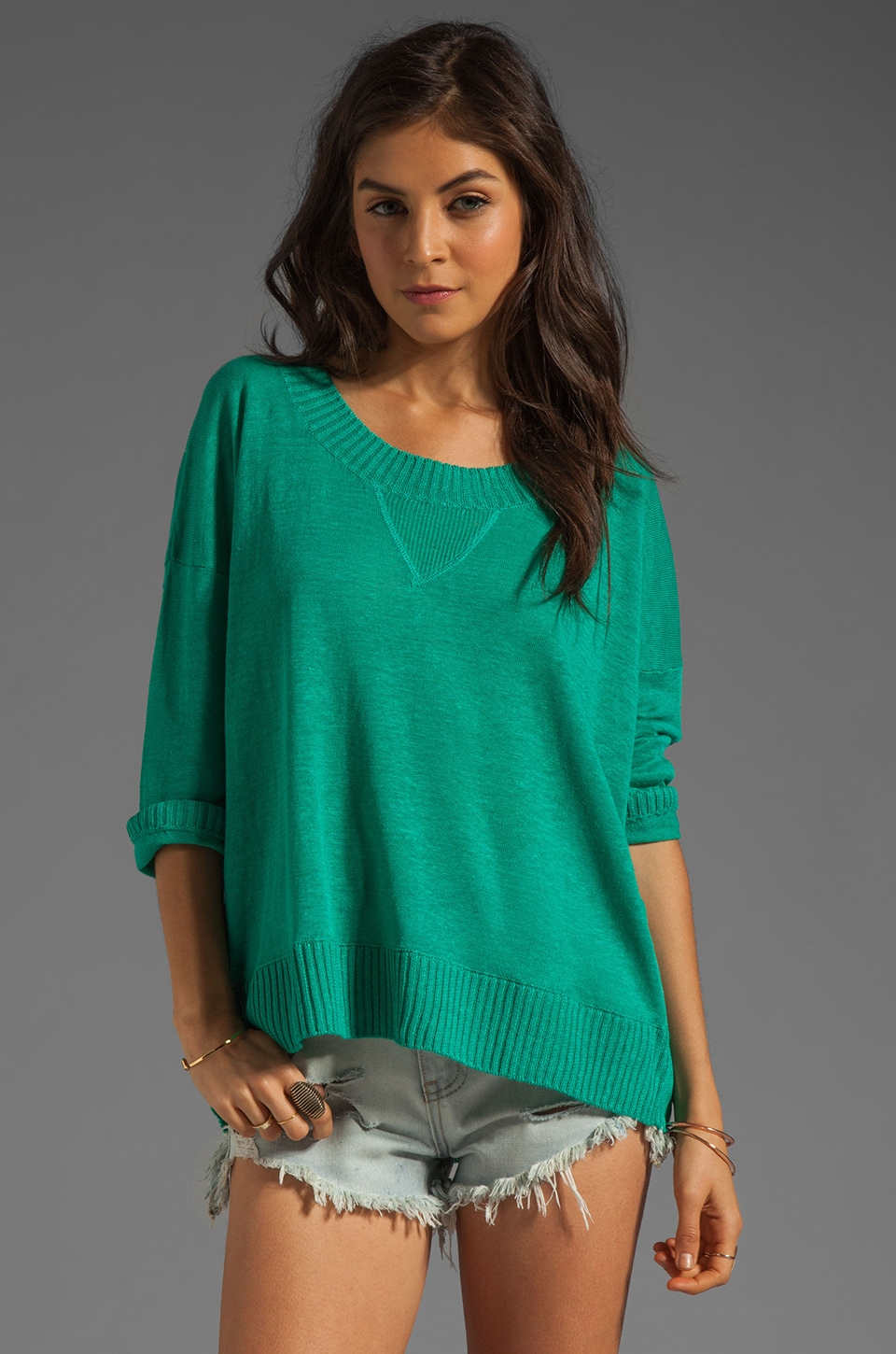 Central Park West Texarkana Linen Varsity Pullover in Jade