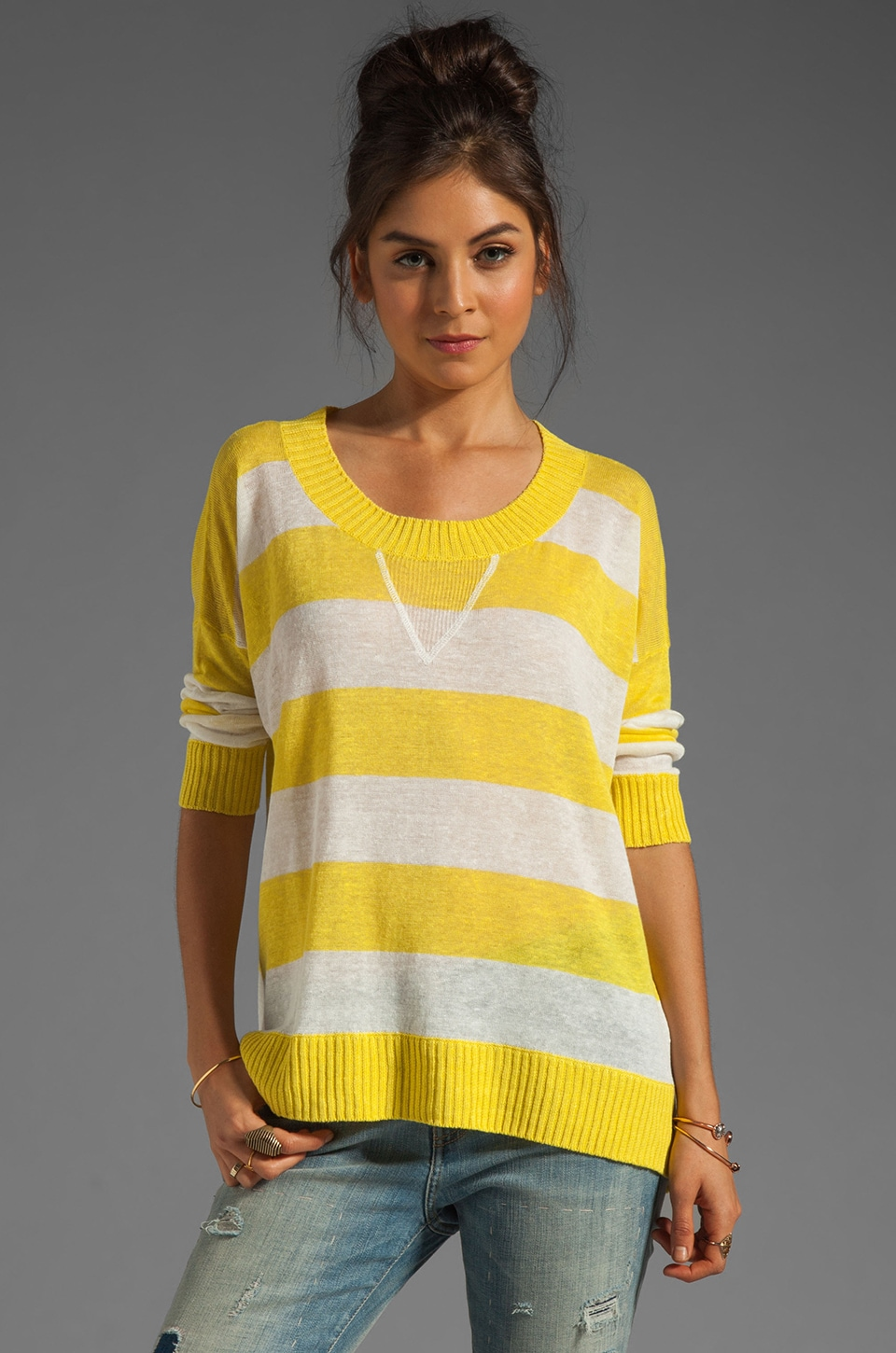 Central Park West Texarkana Striped Pullover in Yellow/White