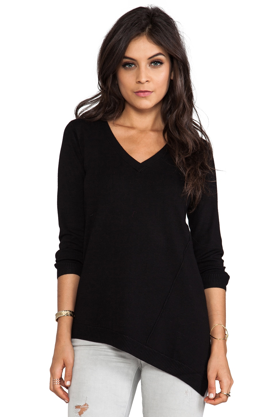 Central Park West Asymmetrical Casper Sweater in Black