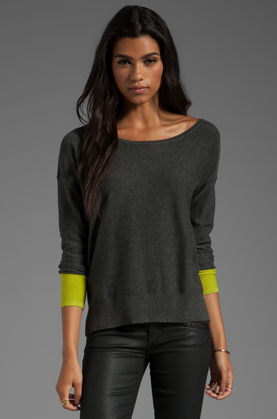Central Park West Casper Color Block Pullover in Charcoal/Citron