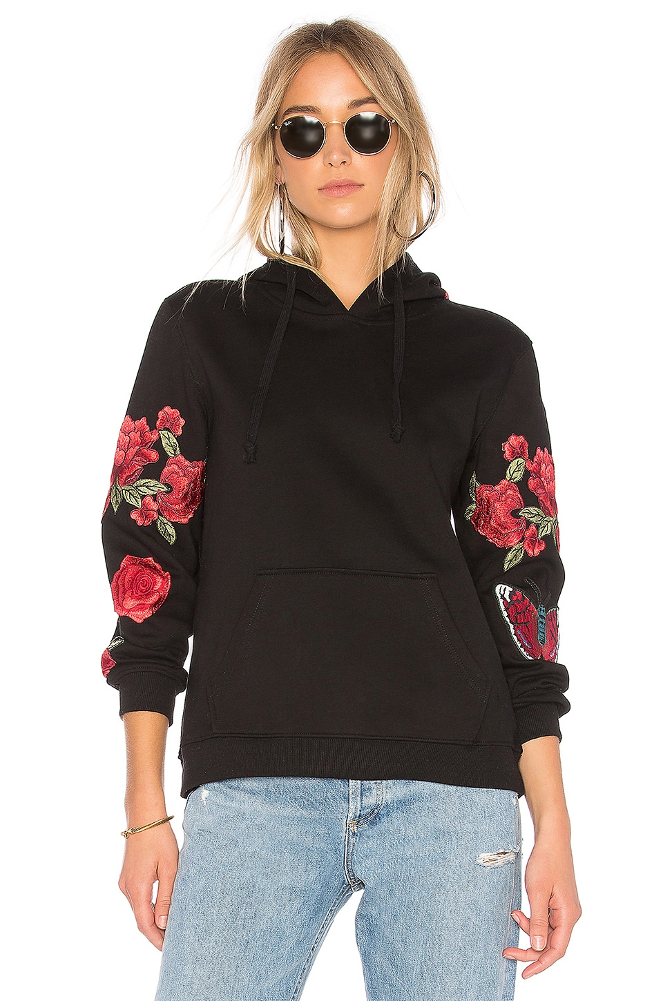 Central Park West Abbot Kinney Rose Hoodie in Black