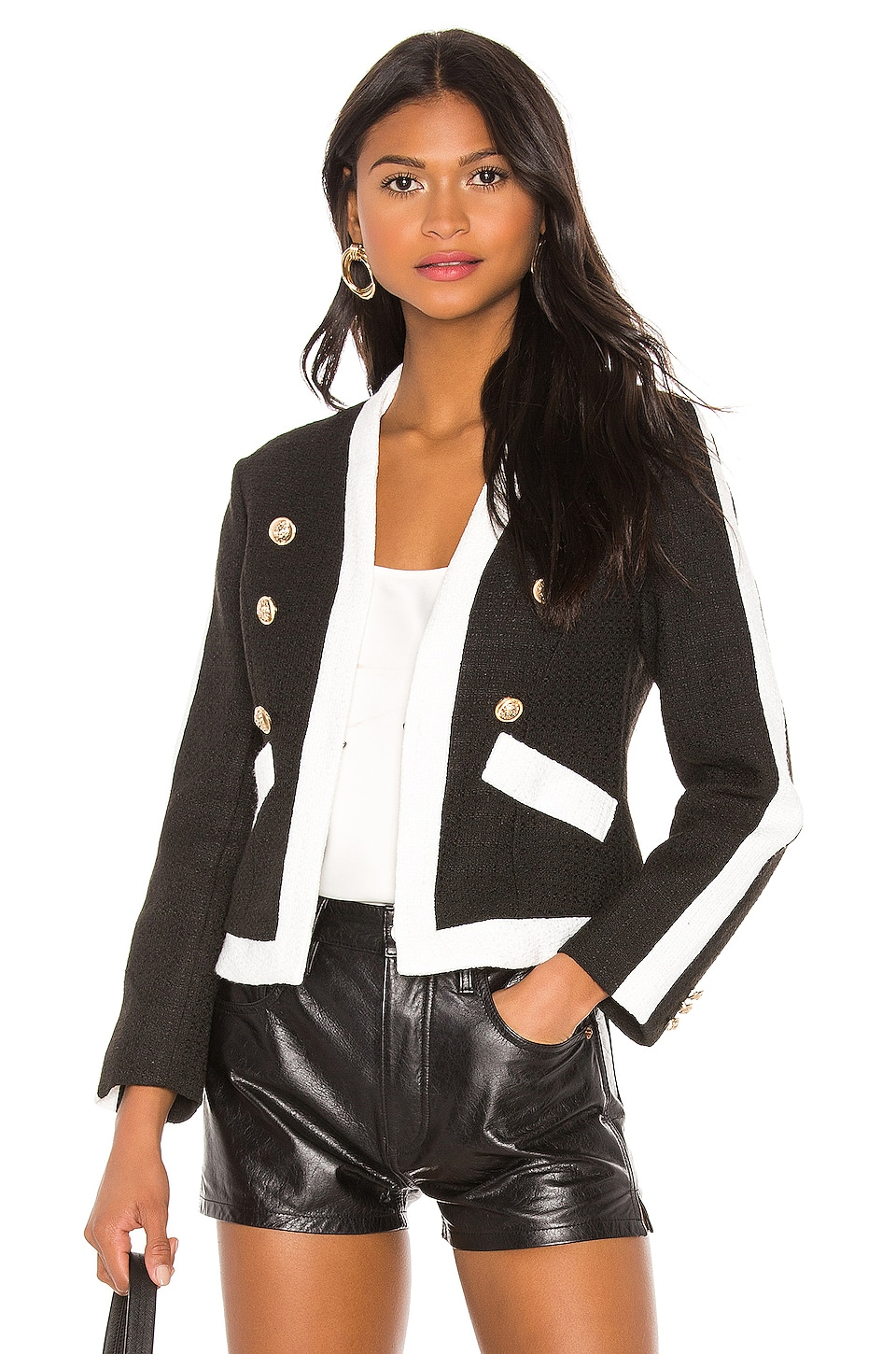 Central Park West L'Horizon Two Tone Jacket in Black & White