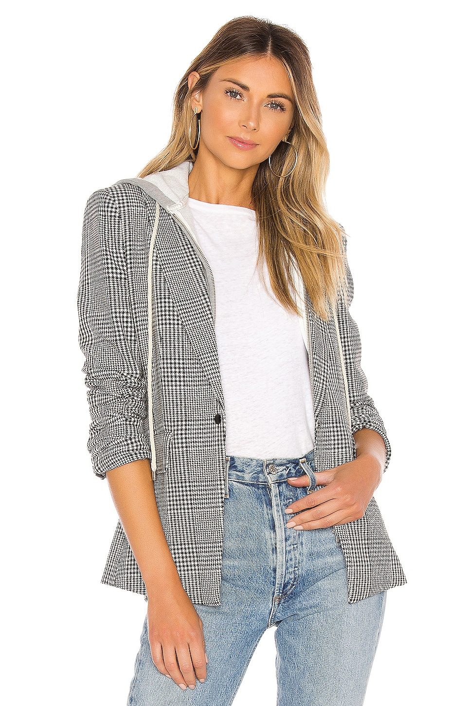 Central Park West Jagger Clean Blazer in Glen Plaid