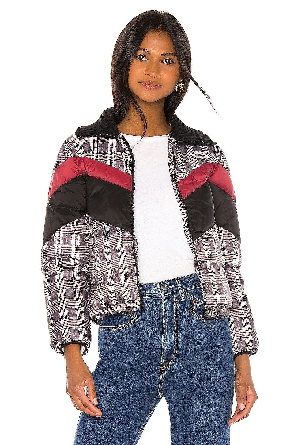 Central Park West Wesley Printed Puffer in Glen Plaid