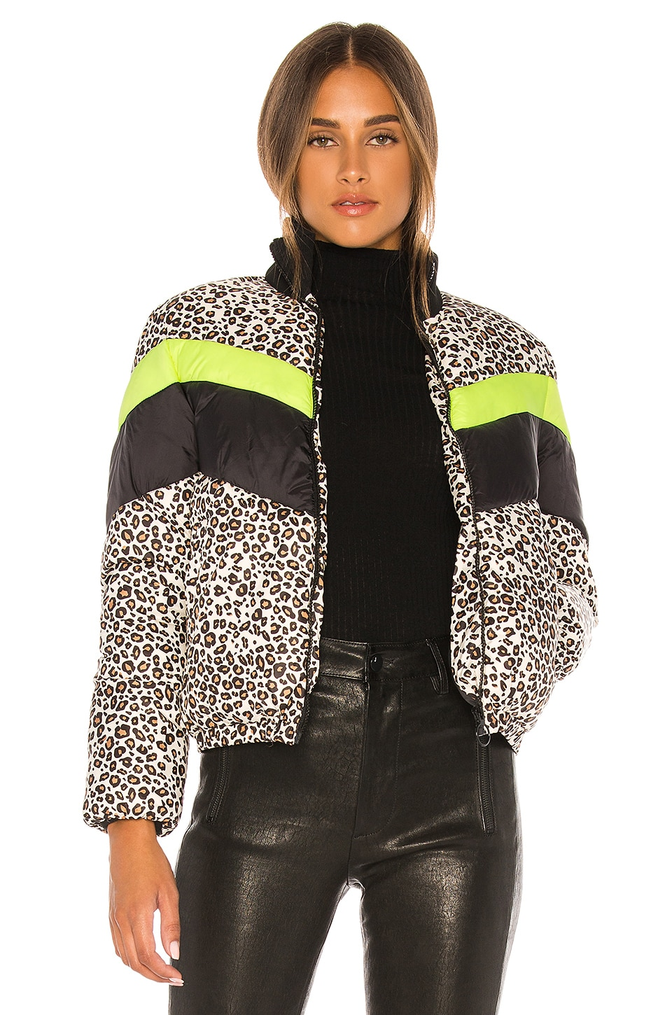 Central Park West Copenhagen Printed Puffer in Leopard