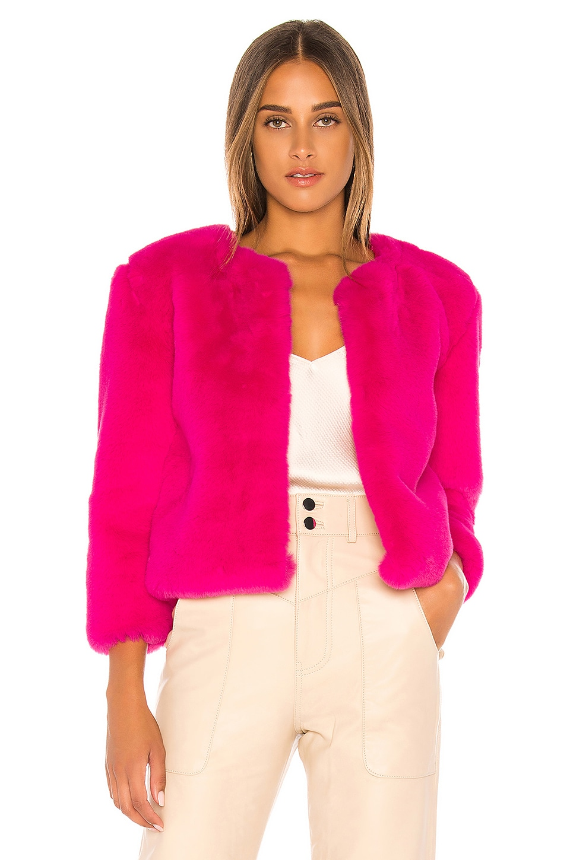 Central Park West Miami Faux Fur Chubbie Jacket in Pink