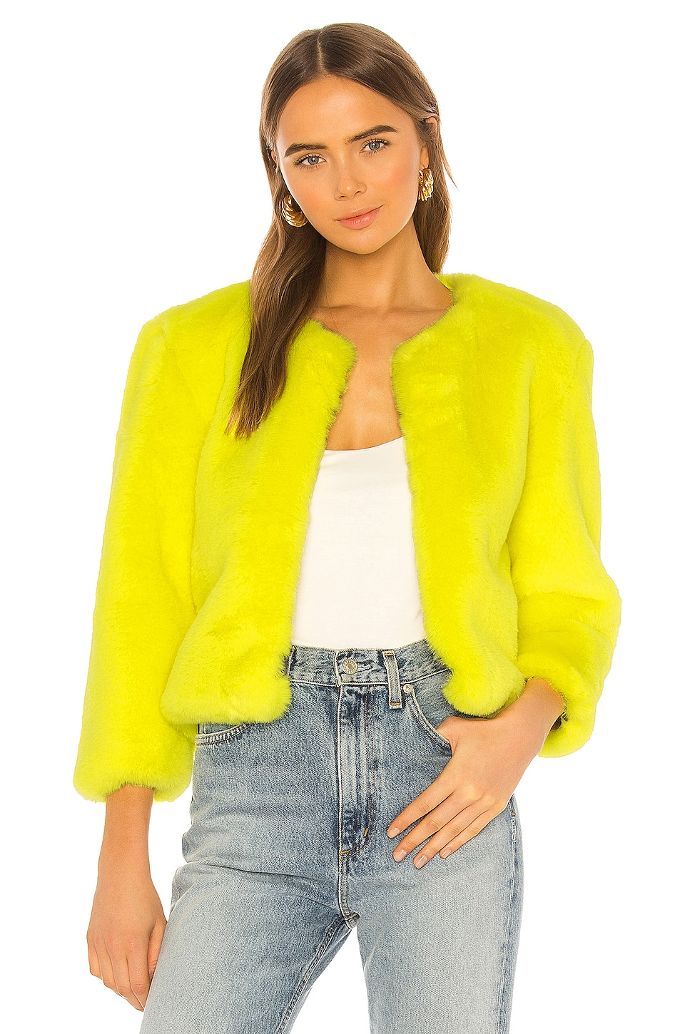 Central Park West Miami Faux Fur Chubbie Jacket in Yellow
