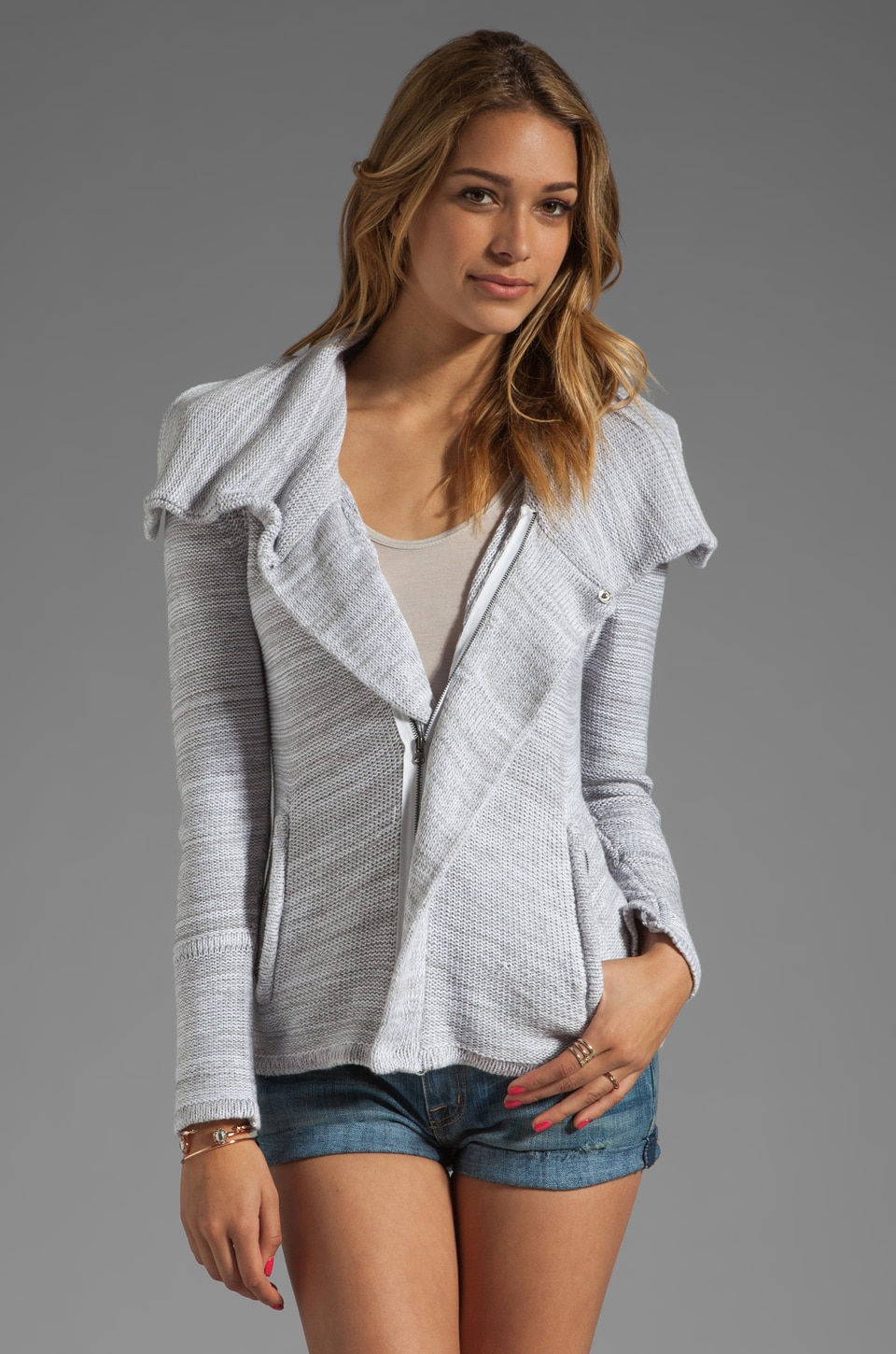 Central Park West Chesapeake Biker Jacket in Grey/White