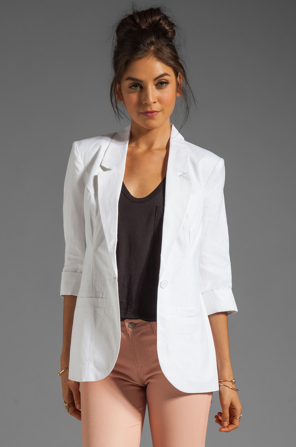 Central Park West Durham Linen Elbow Sleeve Blazer in White