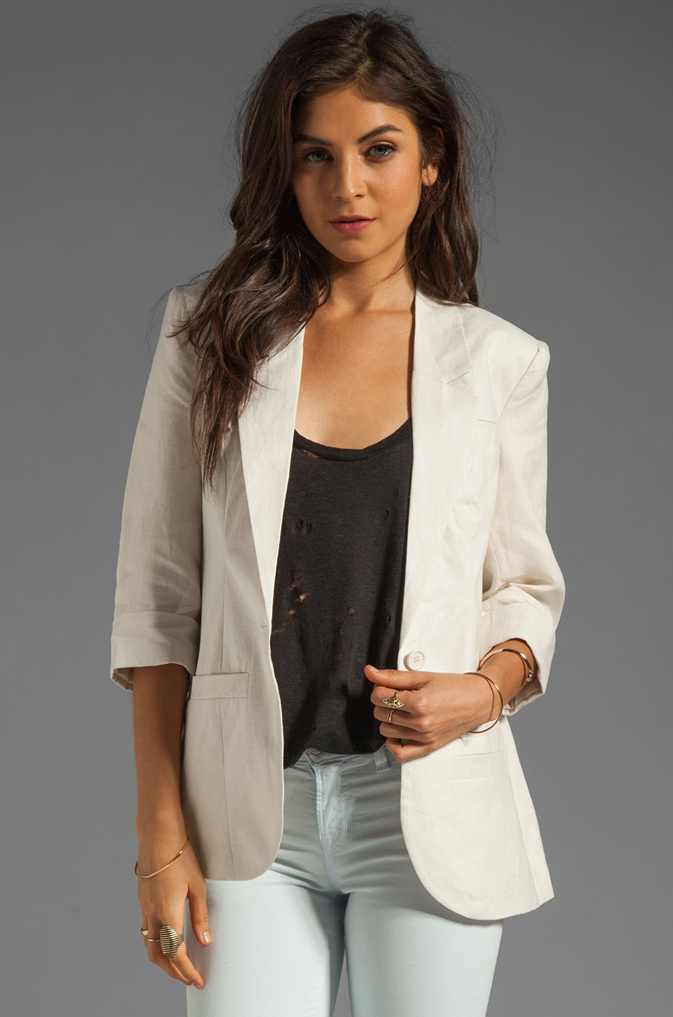 Central Park West Durham Linen Elbow Sleeve Blazer in Bone