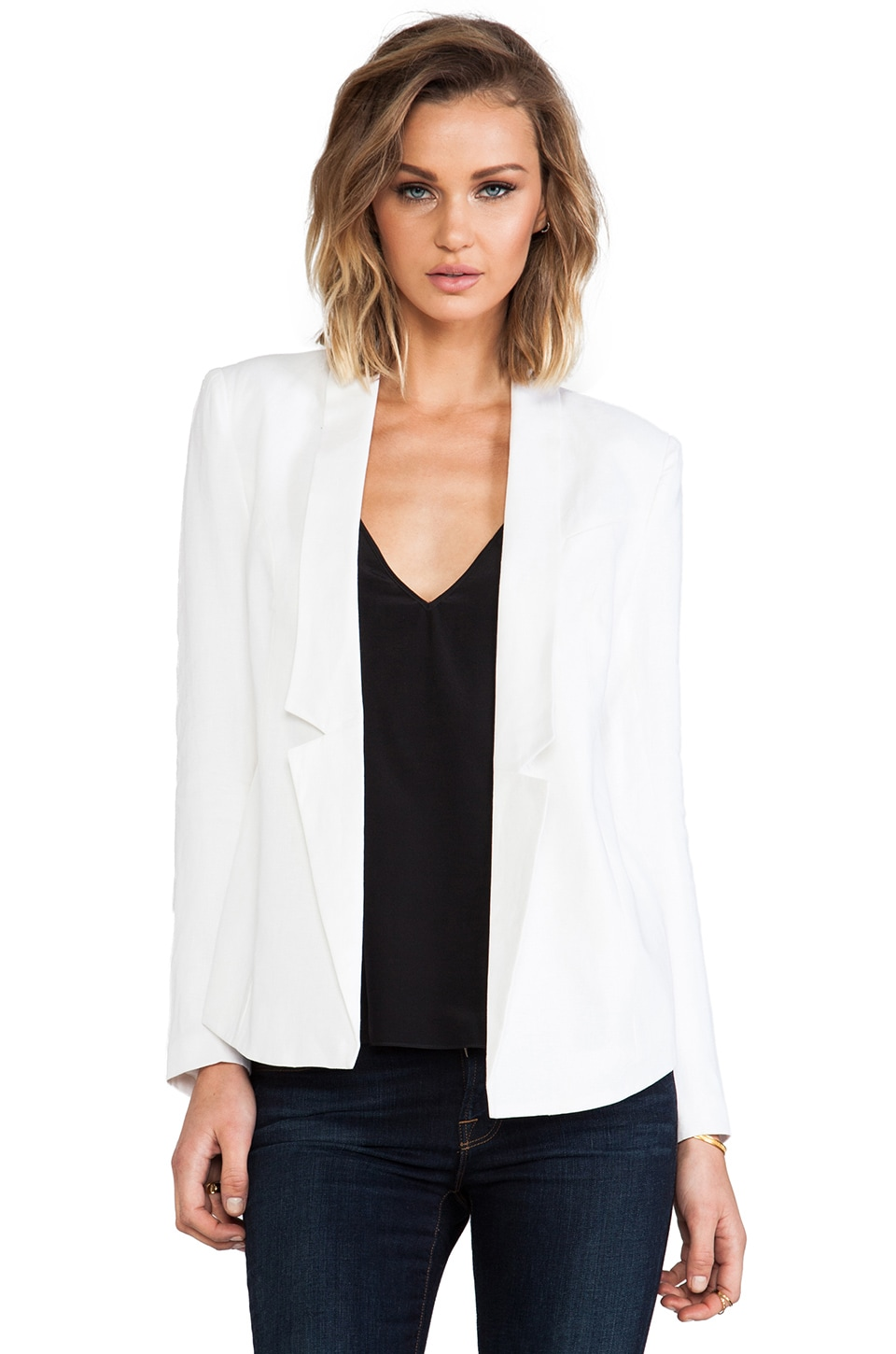 Central Park West Durham Linen Blazer in White