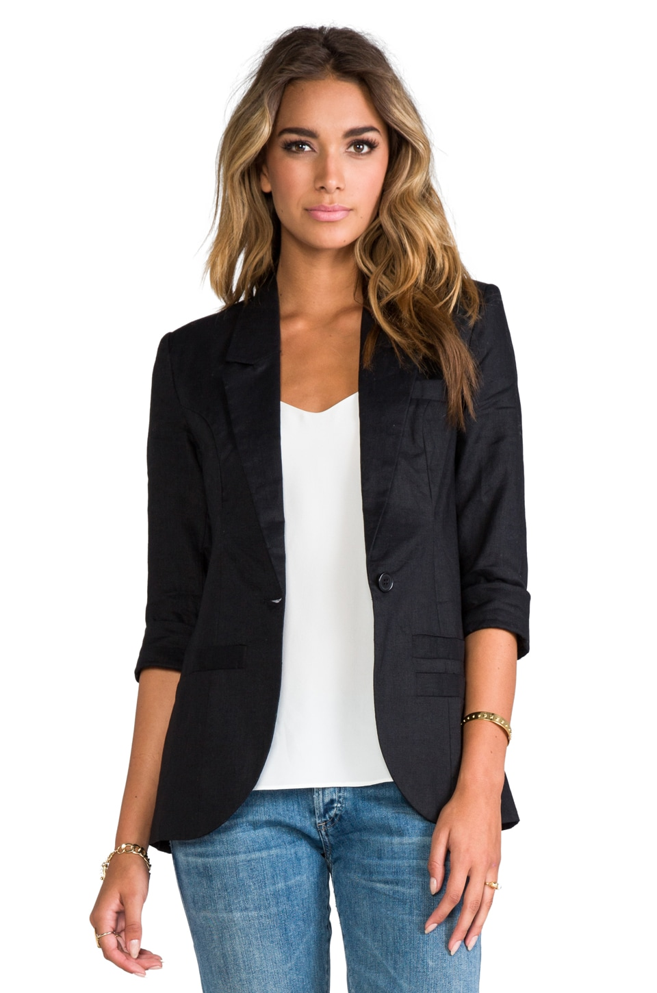 Central Park West Durham Linen Elbow Sleeve Blazer in Black