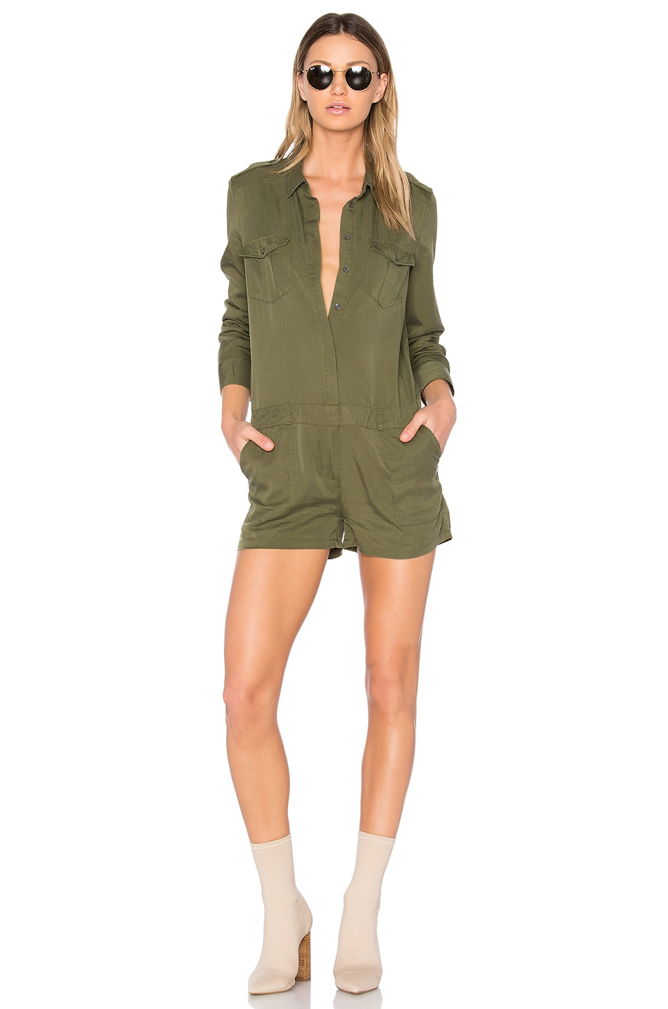 Central Park West Santa Cruz Romper in Army Green