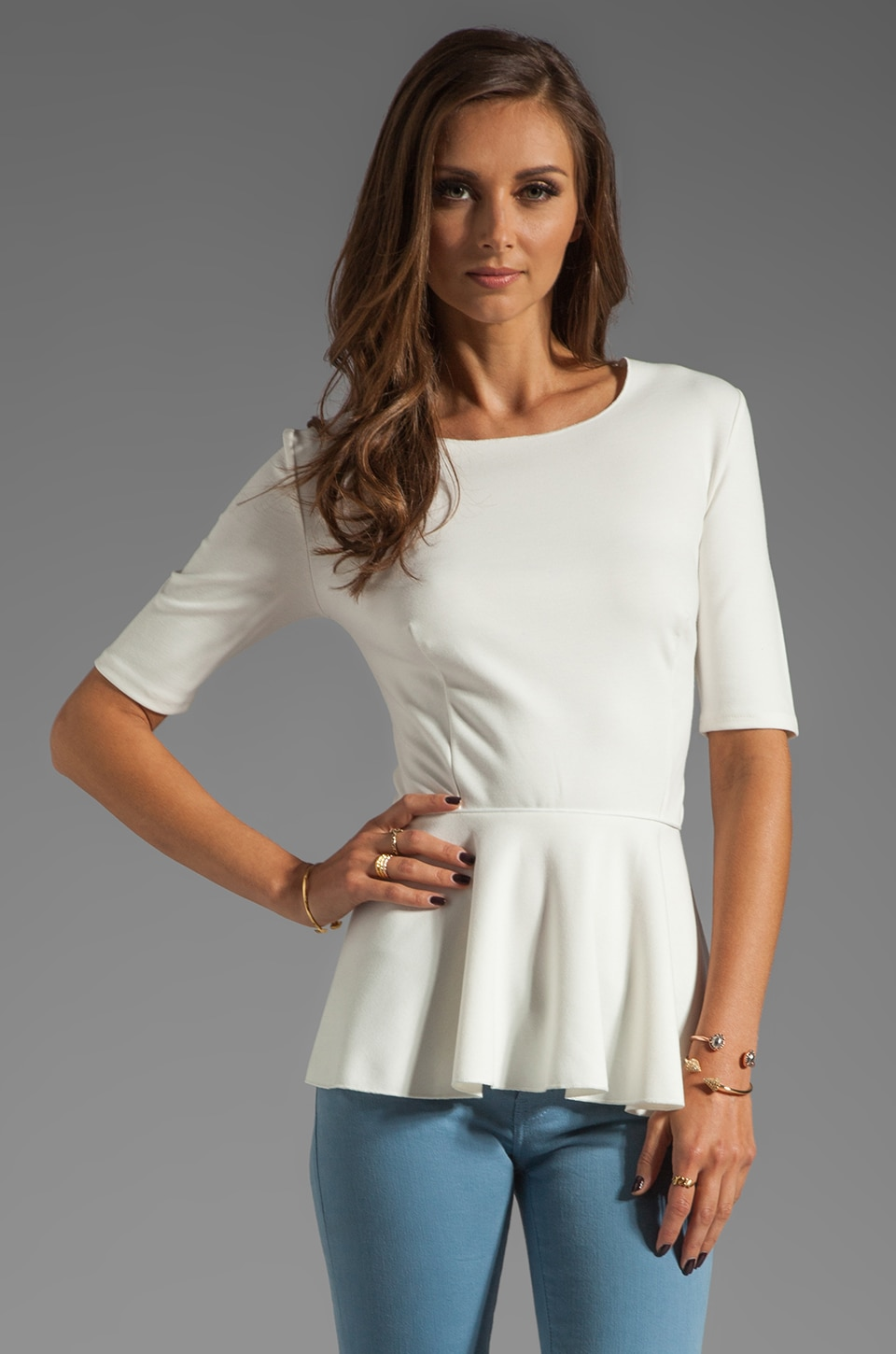Central Park West Newport Peplum Top in Ivory