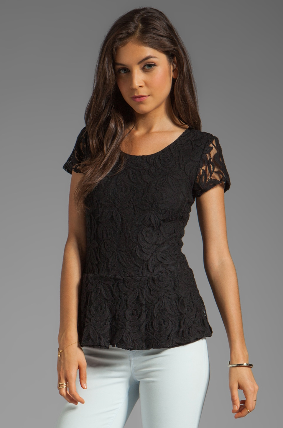 Central Park West Belize Lace Top in Black