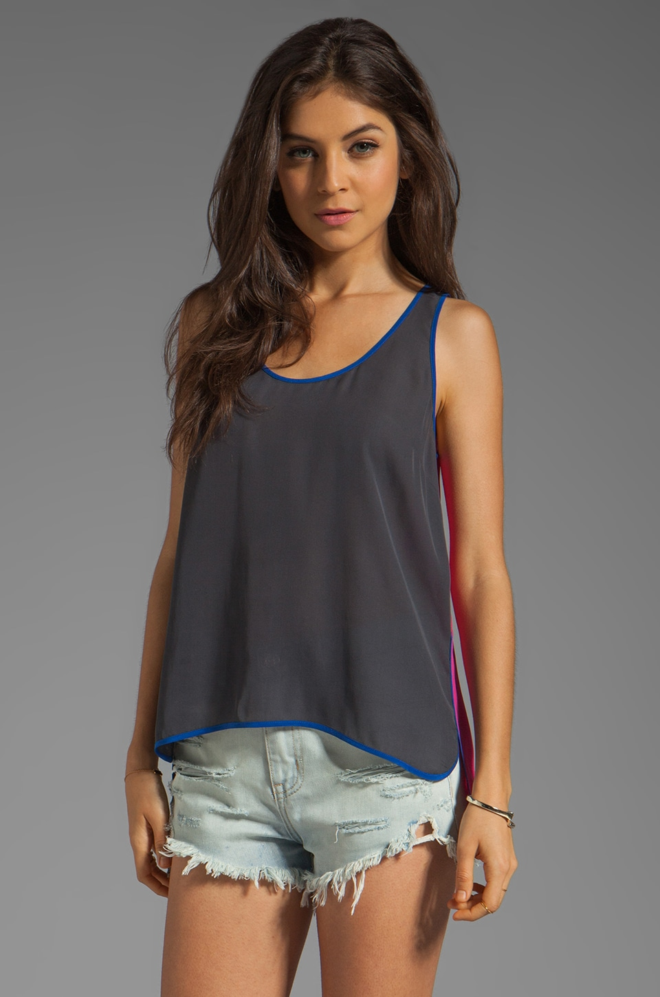 Central Park West Tahiti Colorblock Tank in Charcoal