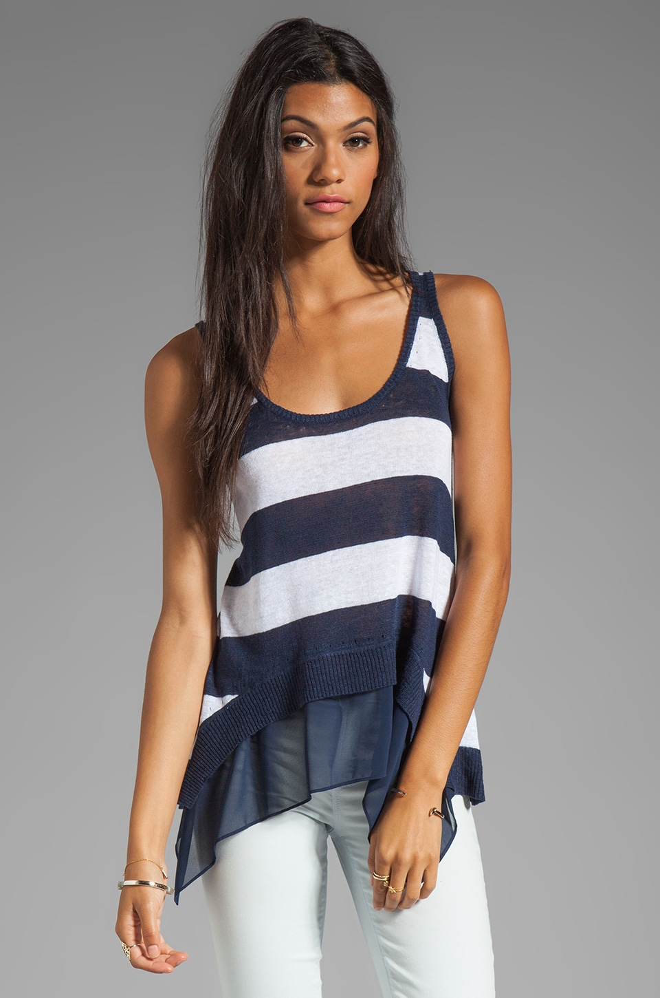 Central Park West Chapel Hill Tank in Navy/White